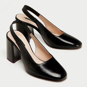 Zara black italian leather chunky sling back heels